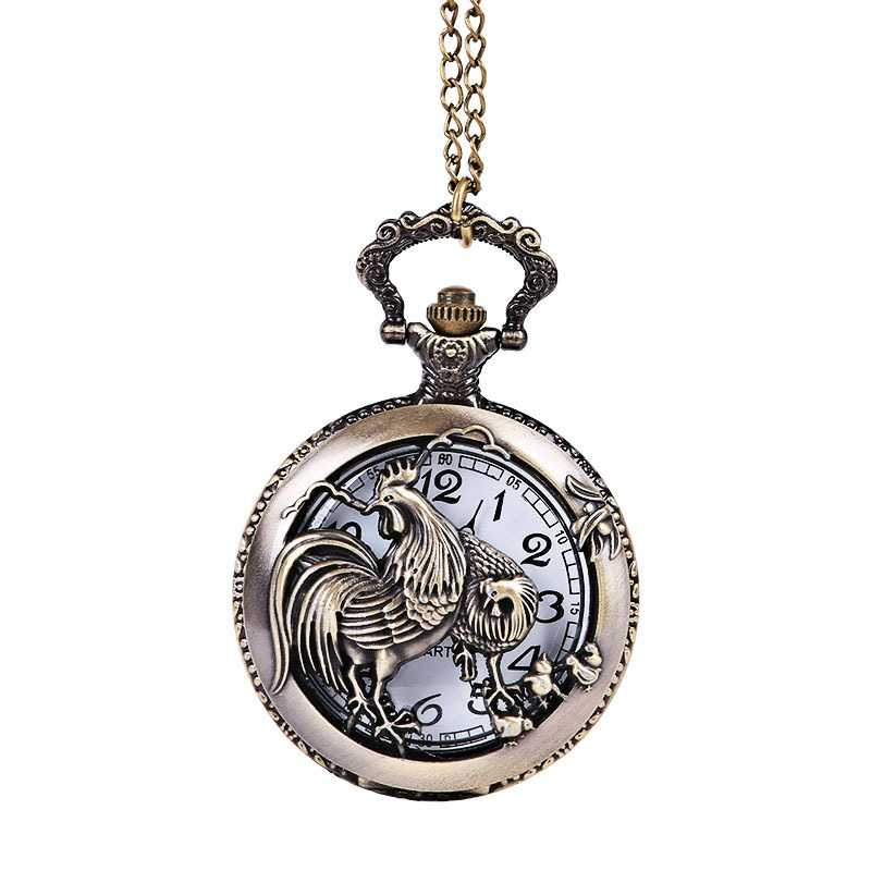 Chinese Zodiac Hollow Perspective Series Horse Sheep Monkey Chicken Dog Pig Embossed Pattern Retro Pocket Watch Necklace
