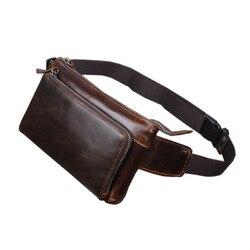 حقيبة للرجال مصنوعة من جلد البقر الطبيعي بالشمع الزيتي مناسبة للسفر/حقيبة للهاتف المحمول مزودة بحزام خصر فاني