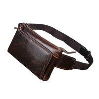2017 Men Oil Wax Genuine Leather Cowhide Vintage Travel Cell/Mobile Phone Hip Bum Belt Pouch Fanny Pack Waist Purse Bag