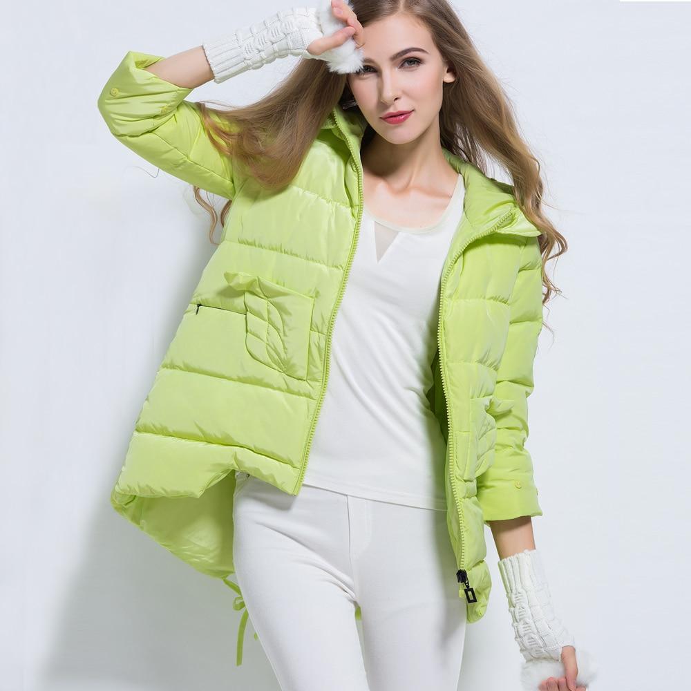 Prix pour Nouveau Design Corée Style Type de Manteau Femmes D'hiver moyen-long Style Trois-quarts Manches Vers Le Bas Manteau