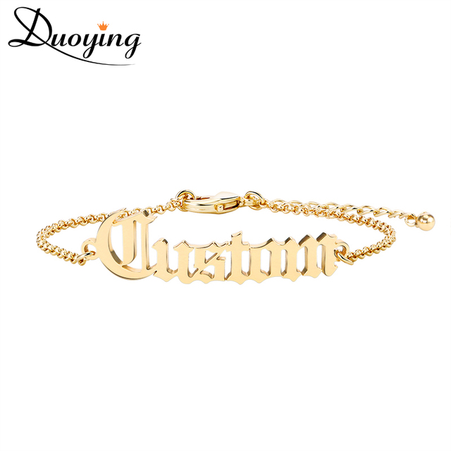 Duoying Old English Cutting Name Bracelet Personalize Gold Best Friend Dainty Jewelry For Women