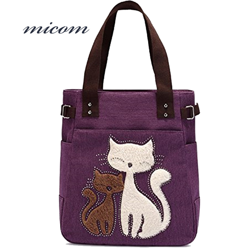 Micom Fashion Embroidery Cats Clutch Handbag Vintage Canvas Shoulder Bag Female Shopping Bag Travel Summer Beach Bag For Girls striped travelling carrying bag for cats small