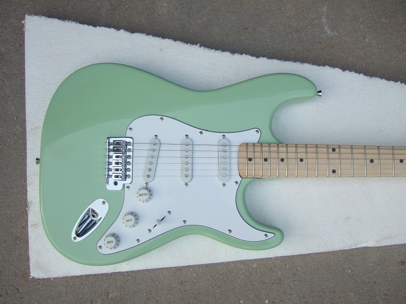 Factory Store Light Green ST Signature 6 String Chrome Hardware Electric Guitar Free Shipping
