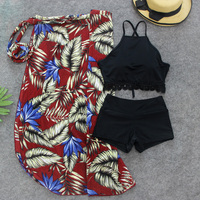 Summer Retro Top Neck Push Up Sexy Bikini Swimwear Women 3 Pieces Swimsuit With Cover Ups
