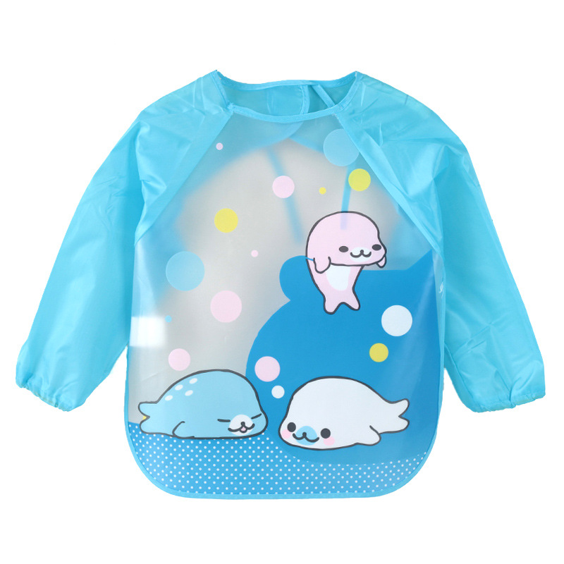 DreamShining Cartoon Baby Bibs Colorful Long Sleeve Apron Waterproof Toddler Feeding Bibs Burp Cloths Children Painting Clothes new arrival shipping free baby diaper bag waterproof 600d nylon mommy bag changing bag women tote bag