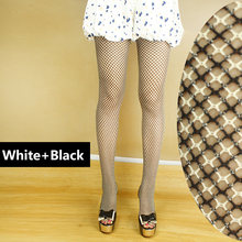 2017 Sexy pantyhose Elastic Black White Cross Female Stockings Pantyhose Fashion Women Tight Slim Net Small Mesh FishnetStock(China)