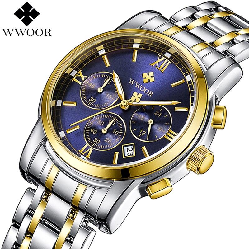 364b3cceaef Nova WWOOR Relógios Cinta de Aço de Quartzo Dos Homens Top Marca de Luxo  relógio de Pulso Militar Do Exército Men Sport Relógio Cronógrafo Masculino  ...