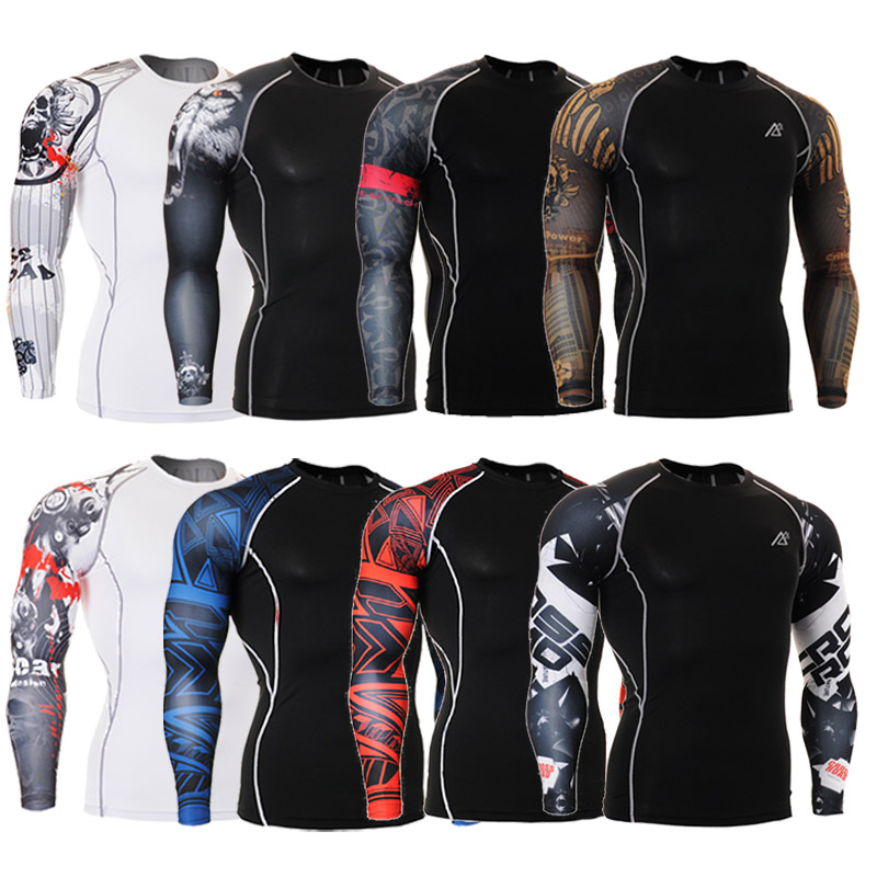 a346587a229f Muscle Men Compression Tight Skin Shirt Long Sleeves 3D Prints MMA  Rashguard Fitness Base Layer Weight Lifting Male Tops Wear-in T-Shirts from  Men s ...