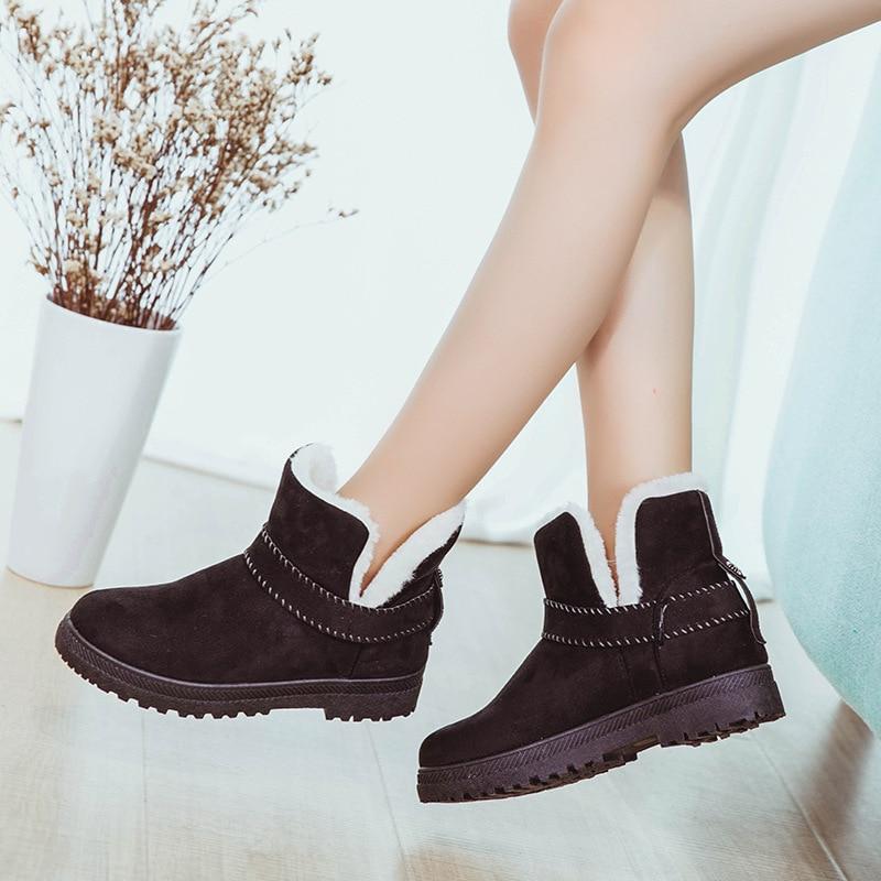 2018 Winter Women Boots Short Snow Boots Ankle Fur Boots Large Size 35-44 Platform Shoes Woman Slip-On Fashion Designer Brand