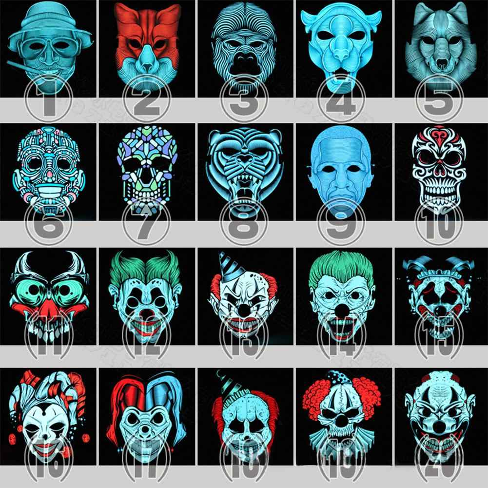 Unique Sound Halloween Mask LED EL Light Funny Masks The Purge Election Year Great Festival Cosplay Costume Supplies Party Masks