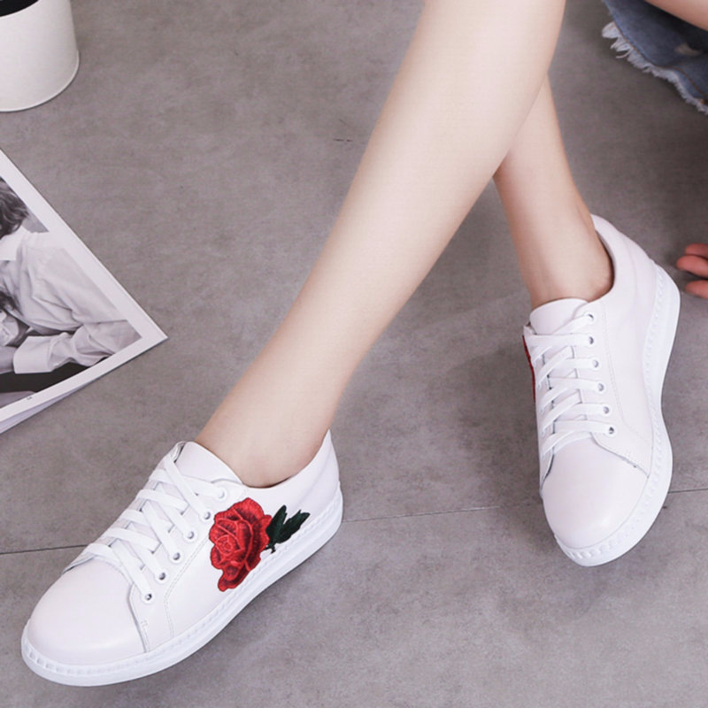 F.N.JACK Womens Shoes Flower Pattern Embroidered White Geniune Leather Flats Shoes Women Lace Up SneakerF.N.JACK Womens Shoes Flower Pattern Embroidered White Geniune Leather Flats Shoes Women Lace Up Sneaker