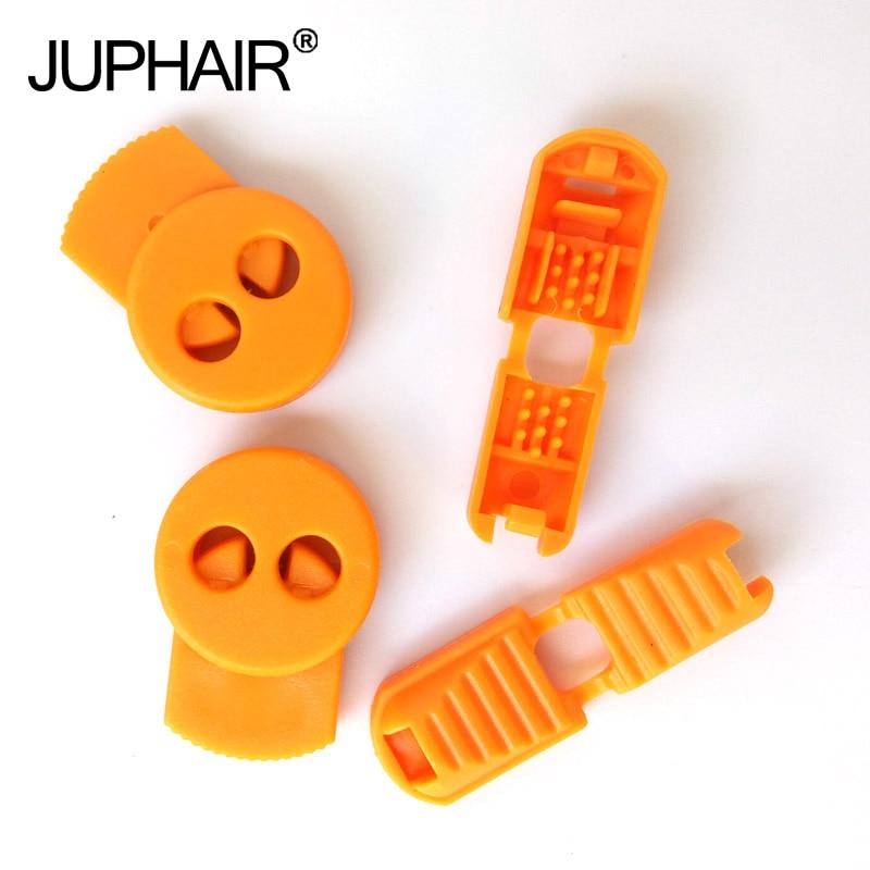 JUP1-50 Sets Orange Yellow Buckle Elastic Shoes Buckles Hole Plastic Stopper Toggle Clip Apparel Shoelaces Sportswear Accessorie jup1 50 sets 20piece set  black fashion