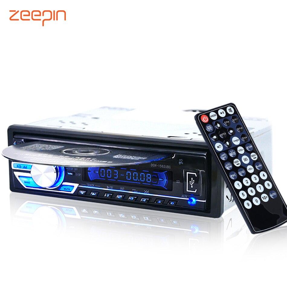 1563U 1-DIN 12 V Rádio Do Carro de Áudio Estéreo MP3 Players CD Player Suporte USB SD Mp3 Player AUX DVD VCD CD Player com Controle Remoto