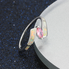 Oval Pink CZ With Milky Opal Stone Women Ring