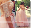 Charming Sweetheart Off The Shoulder Lace Beaded Elegant Long Pink Prom Dresses With Half Sleeves Formal Prom Gowns On Sale