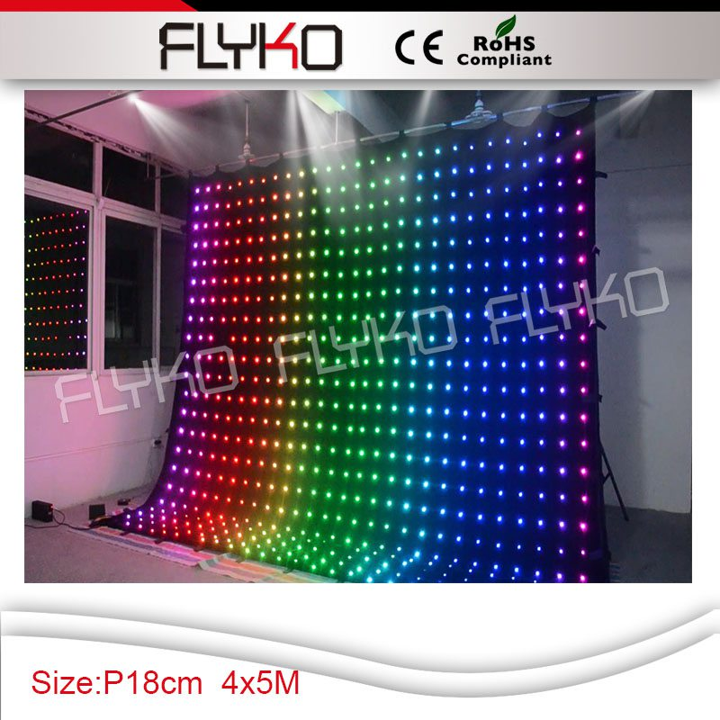 p18 4x5m LED rental stage flexible led video curtain backdrop display for weddingclubdisco party