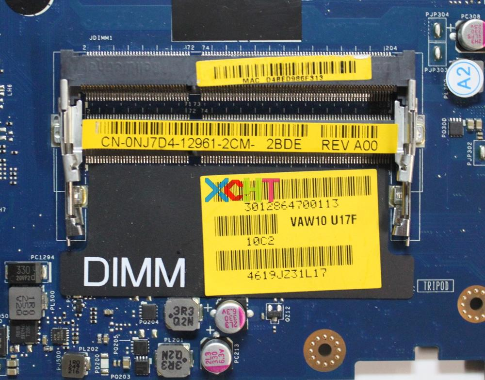 For Dell Inspiron 17 3721 NJ7D4 0NJ7D4 CN 0NJ7D4 VAW11 LA 9102P W 2117U CPU Laptop Motherboard Mainboard Tested