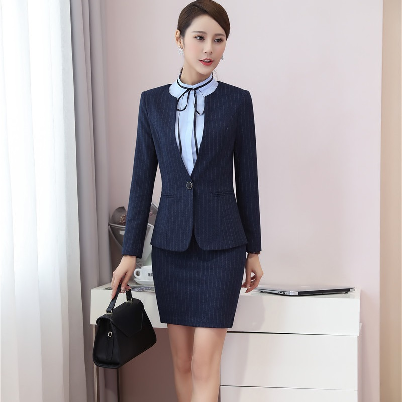New Fashion Striped Fall Winter Blazers Suits With 2 Piece Jackets And Skirt For Business Women Uniform Styles Sets Plus Size