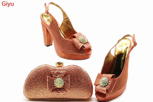 Fashion Women nice peach Shoes And Bag Set To Match High Quality Italian Shoes With Matching Bags For Party! SSN1-26Fashion Women nice peach Shoes And Bag Set To Match High Quality Italian Shoes With Matching Bags For Party! SSN1-26