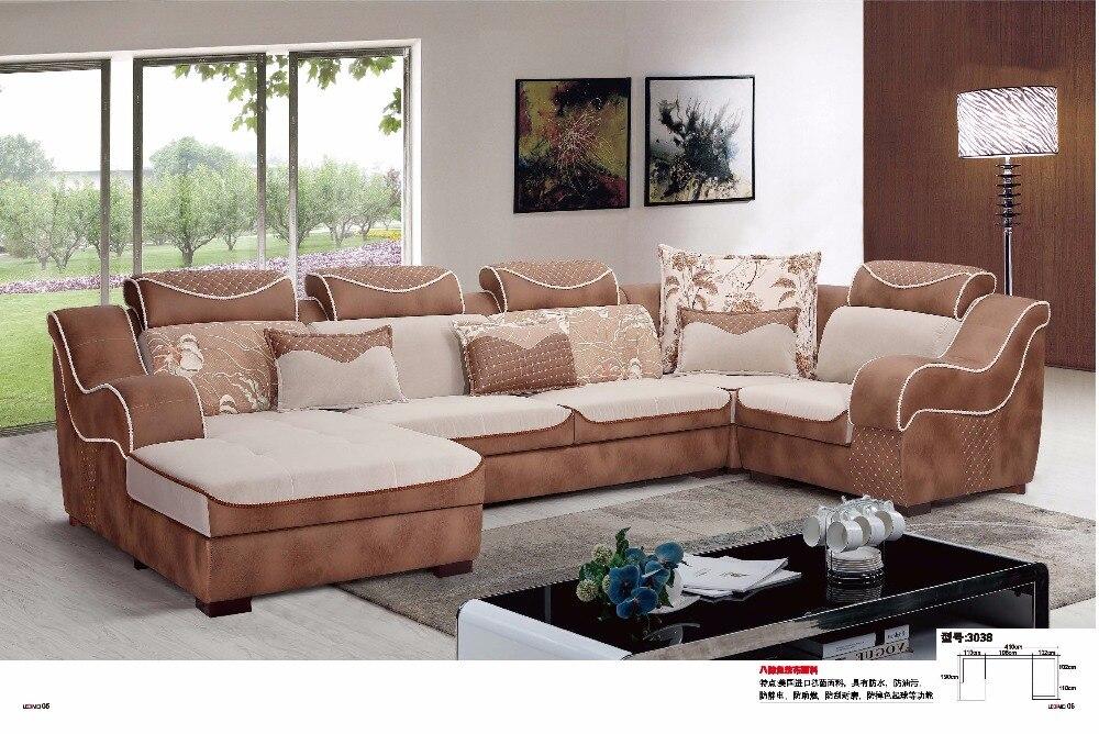 LDM3038 современной гостиной софа U форма сечения антибактериальные Фабр диван, набор мебели удобные мягкие ткани диван
