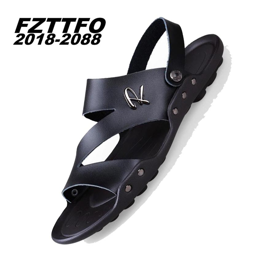 39-44 Mens 100% Genuine Leather New Famous Brand Casual Men sandals Slippers Summer Shoes Beach flip flops K411