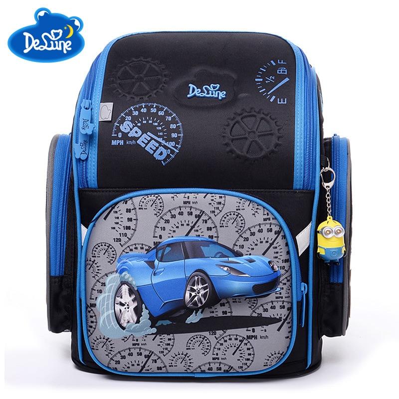 Factory Famous Brand Delune Kids Primary School Backpack Children 3D Cars Schoolbag Boys Girls Waterproof Orthopedic