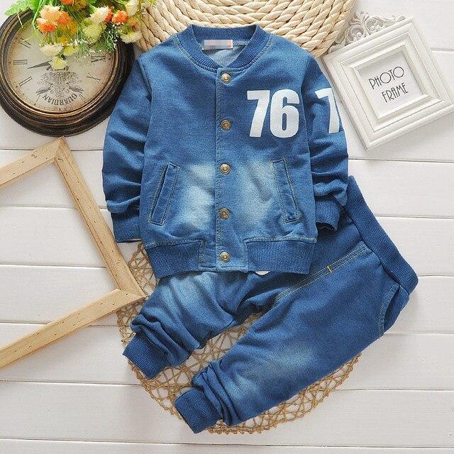 Bibicola moda bebé Niños Denim ropa set otoño niño traje niños abrigo Denim  + Vaqueros Trajes e40e0a0bbc8