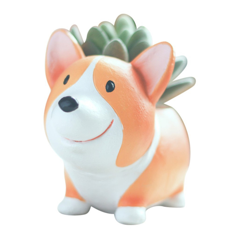 Image 3 - Lovely Corgi Dog Shaped Plant Decor Succulent Plants Decorative Flower Pot garden small planter succulent guardian-in Flower Pots & Planters from Home & Garden