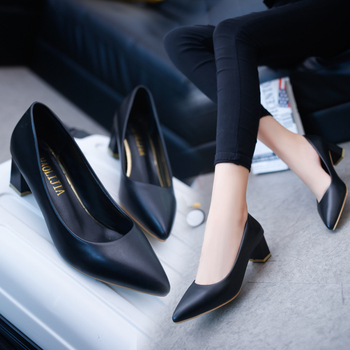 Spring new thick with wild women's single shoes Korean version of shallow mouth pointed black high-heeled work shoes Pumps