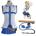 Fairy Tail Lucy Heartfilia Default Uniform Cosplay Costume Party Dress