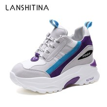 2018 Women Autumn Casual Platform Shoes Fashion High Heels Woman Wedges Sneakers Shoes 8 CM Heigh Increasing Outdoor White Shoes 8 cm heels white women platform sneakers casual wedges shoes for women white shoes woman plataforma sneaker zapatos de mujer