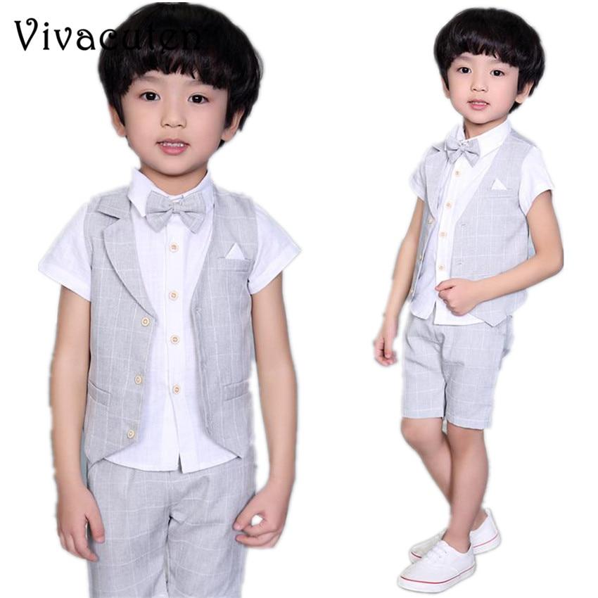 New Boys Summer Formal Vest Shirt Shorts 3Pcs Set Waistcoat Suit Children England Style Wedding Suit with Bowtie for Boys F045