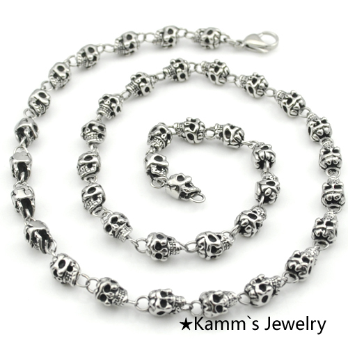 Mens Party Charms Skull Necklace goth Punk chain 316L Stainless Steel Biker Chain gothic Heavy Cool Hip Hop Rock Hot KN290Mens Party Charms Skull Necklace goth Punk chain 316L Stainless Steel Biker Chain gothic Heavy Cool Hip Hop Rock Hot KN290