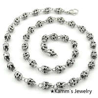 Mens Party Charms Skull Necklace goth Punk chain 316L Stainless Steel Biker Chain gothic Heavy Cool Hip Hop Rock Hot KN290