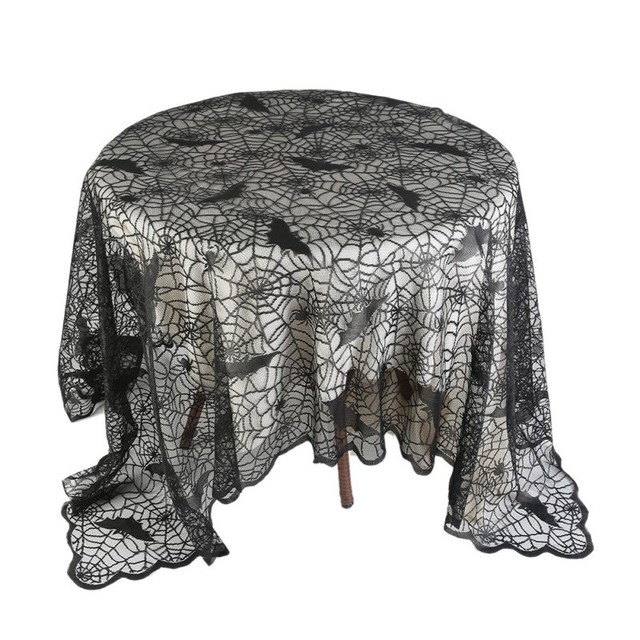 1 Piece Halloween Decoration Party Table Cloth  Black Lace Spiderweb Fireplace Mantle Scarf Cover Festive Party Supplies