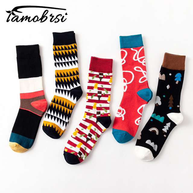 2018 Casual Geometry Stripe Funny Crazy Hipster Winter Sox Women Streetwear New Happy Socks Brand Men's Cotton Thick Warm Socks