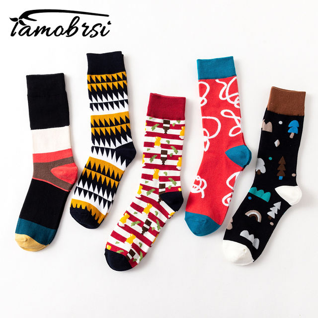 2018 Casual Geometry Stripe Funny Crazy Hipster Winter Sox Women Streetwear New Happy Socks Brand Men's Cotton Thick Warm Socks