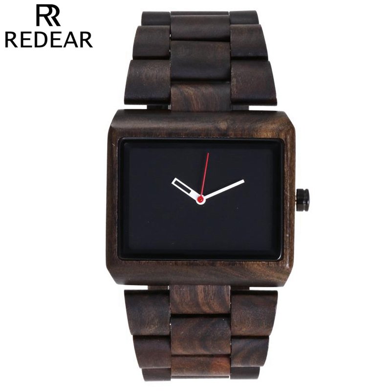REDEAR Quartz Natural Ebony Bracelet Wristwatch Wood Watches Men Relogio Masculino Fashion Casual Wooden Watch Male with box lancaster lancaster легкое молочко великолепный загар spf15