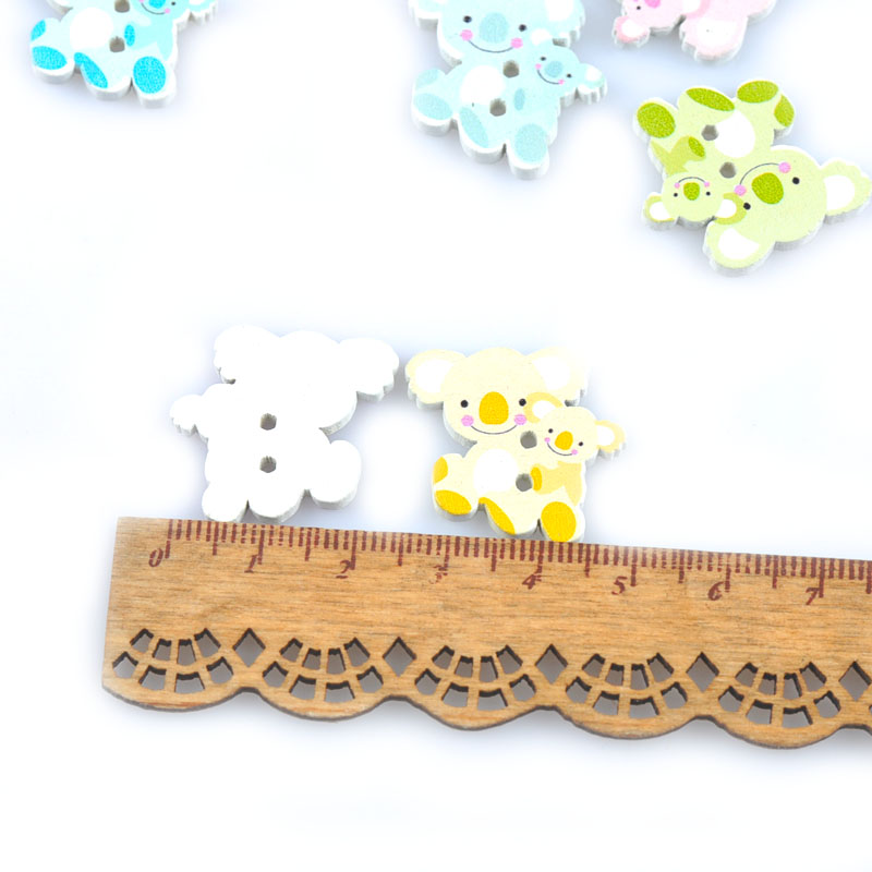 Mixed Colour Sailor Wood Buttons Button Sewing Sew On Kids Craft Card Clothes