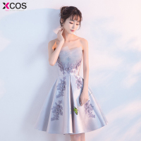 Vestido Curto Real Image Cheap Silver Grey Lace Short Homecoming Dresses Sexy Backless Satin Homecoming Dress