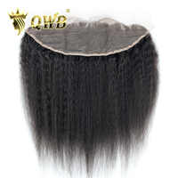 QWB Queen Weave Beauty Kinky Straight Free shipping 12''/14''/16''/18'' Brazilian Virgin Hair Nature Color Lace Frontal