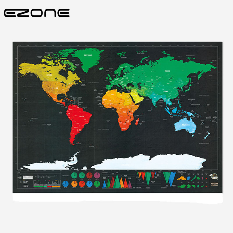 Ezone 1 Pcs Scratch Map New Design Black Deluxe Maps Travelwr Scratch Off World Best Gift For Education School Office Supplies