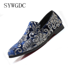 SYWGDC Men Flock Casual Shoes Summer 2019 Breathable Soft Driving Mens Handmade Embroidery Loafers Brand Italian Flats