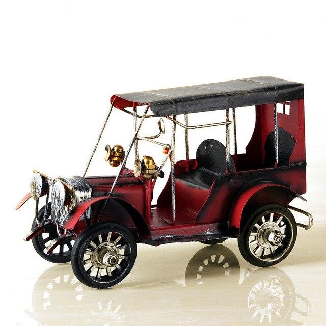 Metal Car Crafts Metal Antique Car Desk Vintage Home Decoration Figurines Miniature Cars For Children Kids Toy Birthday Gifts