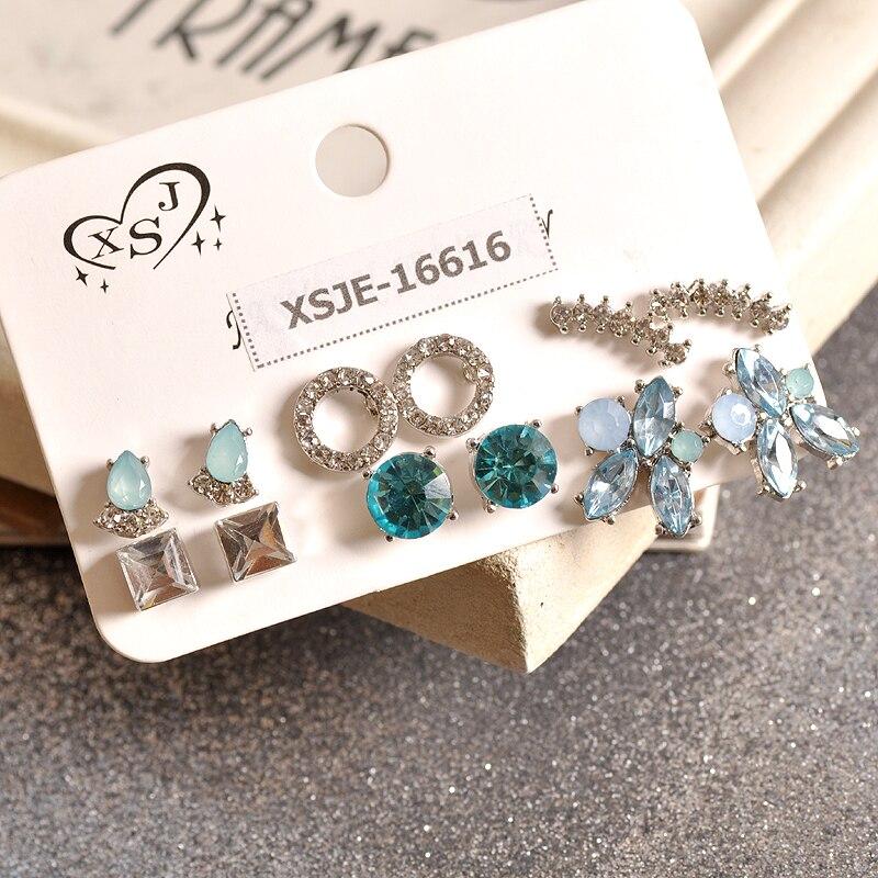 Ohrringe Neue Mode Frauen Zubehör Mädchen Party Ohr Studs Weiß Und Blau Gemischt 6 Paare/satz Geschenk Schöne Ohrringe Agent Versand Zu Verkaufen