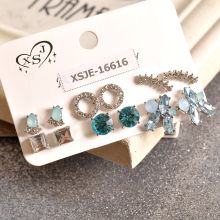 US $1.51 62% OFF|New fashion women's accessories girls party ear Studs  white and blue mixed 6 pairs /set gift beautiful earrings agent shipping-in Stud Earrings from Jewelry & Accessories on Aliexpress.com | Alibaba Group