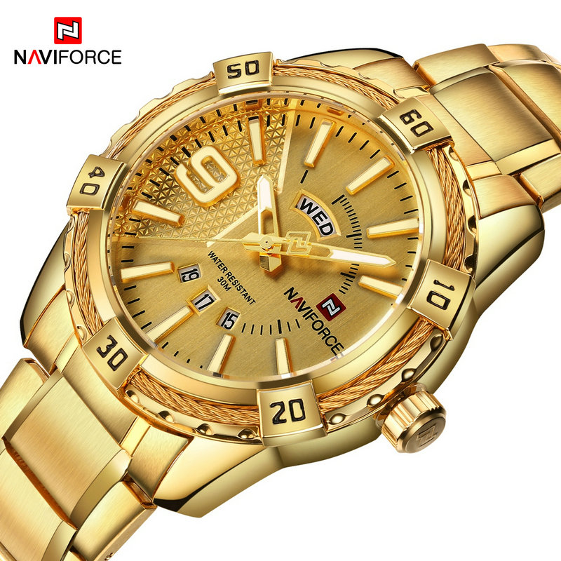 2017 New Arrival NAVIFORCE Brand Men Luxury Watch Men's Sport Watches 30M Waterproof Stainless Steel Analog Quartz Wristwatches