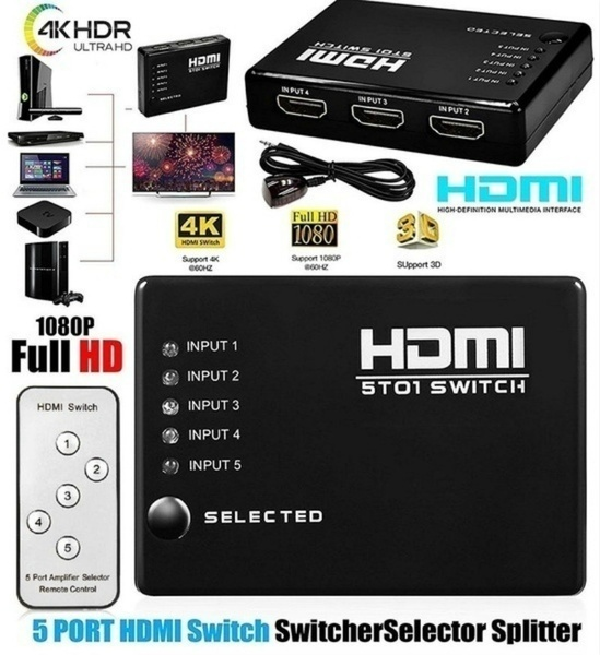 Hdmi Multiport 3 Or 5 Ports HDMI Splitter Switch Selector Switcher Hub+Remote For HDTV PC HOT FOR DVD STB GAME HDTV HDMI. I5
