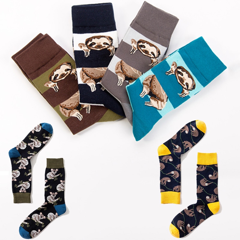 Fashion Animal Koala Sloth Men Socks Funky Combed Cotton Novelty Funny Socks Happy Fancy Crazy Big Size Crew Socks