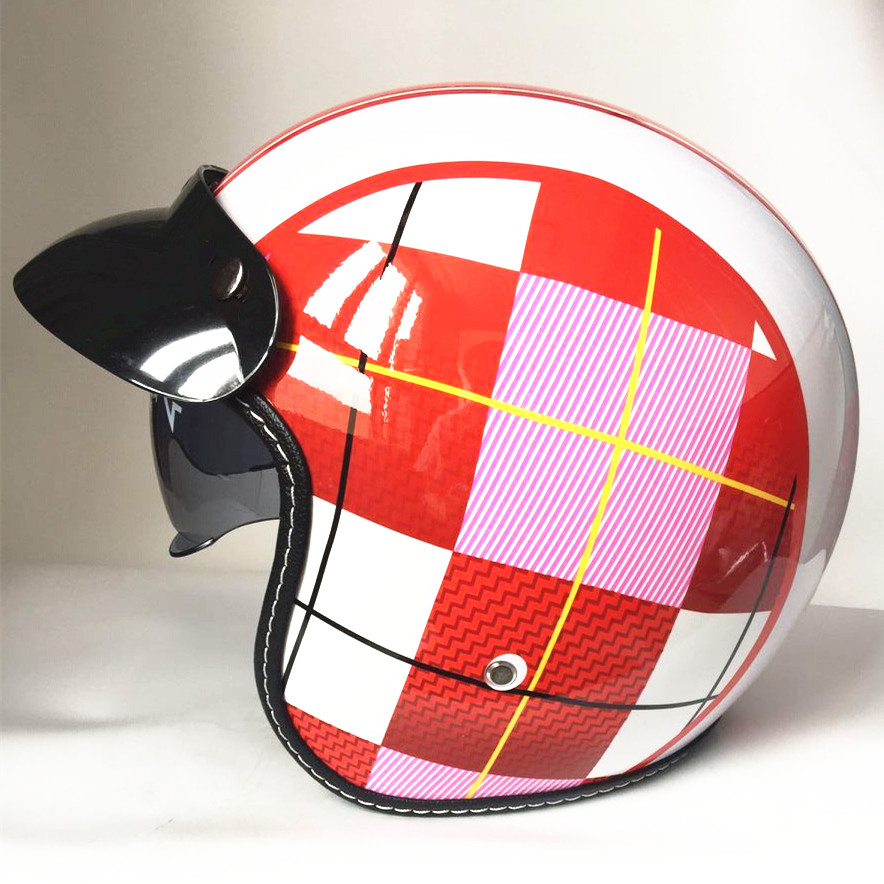 все цены на motorcycle helmet vespa vintage harley winter half helmet with inner visor jet retro capacete casque moto helmet DOT